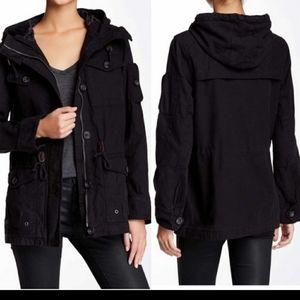 Levi's hooded military jacket black large pockets